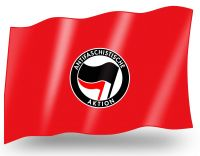 Antifaschistische Aktion (black/red on red) – small flag
