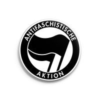 Antifaschistische Aktion (schwarz/schwarz) – Button – gross