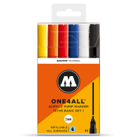 Molotow 127 HS  – 6x Marker Set – 2mm Tip – Basic 1 - Set