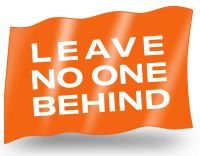 Leave no one behind – kleine Fahne