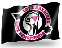 Love Hardcore - Hate Homophobia Fahne