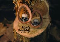 Sapele Wood Ear Tunnels with Skulls