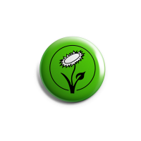 Vegan Blume (grün) – Button