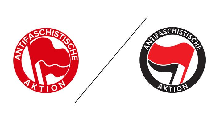 Antifa Logo im Wandel der Zeit